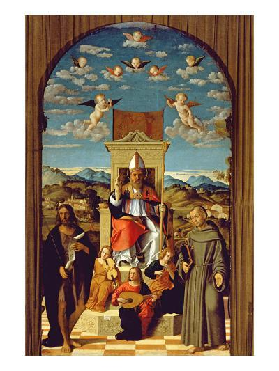 St. Thomas a Becket (1118-70) Enthroned with Ss. Francis and John the Baptist 1520 (Oil on Panel)-Girolamo da Santacroce-Giclee Print