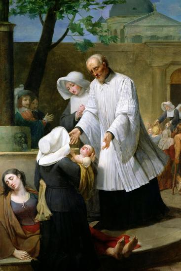 St. Vincent De Paul Helping the Plague-Ridden-Antoine Ansiaux-Giclee Print