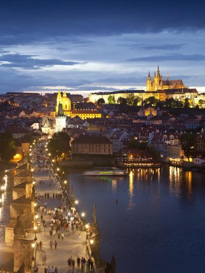St Vitus Cathedral, Charles Bridge, River Vltava, UNESCO World Heritage Site, Prague Czech Republic-Gavin Hellier-Photographic Print