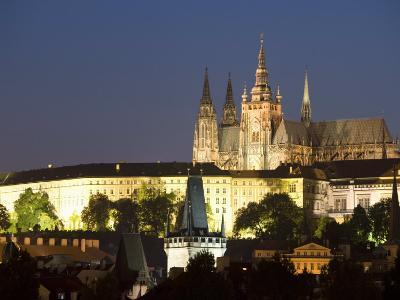 St. Vitus's Cathedral, Royal Palace and Castle in the Evening, Prague, Czech Republic-Martin Child-Photographic Print