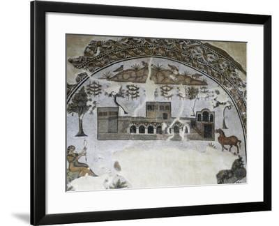 Stables, Side Part of Mosaic of Three-Lobed Floor Depicting Life on Farm, from Tabarka, Algeria--Framed Giclee Print