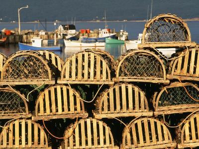 Stack of Lobster Traps at Neil's Harbor, Cape Breton, Nova Scotia, Canada-Walter Bibikow-Photographic Print