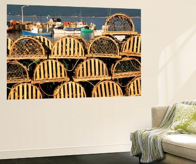 Stack of Lobster Traps at Neil's Harbor, Cape Breton, Nova Scotia, Canada-Walter Bibikow-Wall Mural