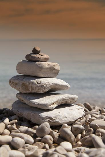 Stack of Stones, Zen Concept, on Sandy Beach-perfectmatch-Photographic Print