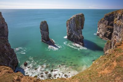 Stack Rocks, Castlemartin, Pembrokeshire Coast, Wales, United Kingdom-Billy Stock-Photographic Print