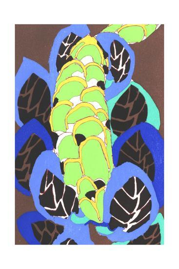 Stacked Green Abstract Floral Shape with Large Black Leaves--Art Print