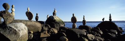 Stacked Rocks on the Beach, Stanley Park, Vancouver, British Columbia, Canada--Photographic Print