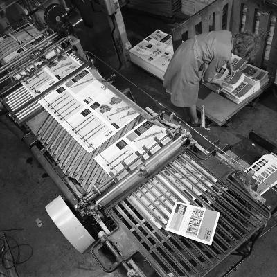 Stacking Finished Brochures at a Printers, Mexborough, South Yorkshire, 1959-Michael Walters-Photographic Print