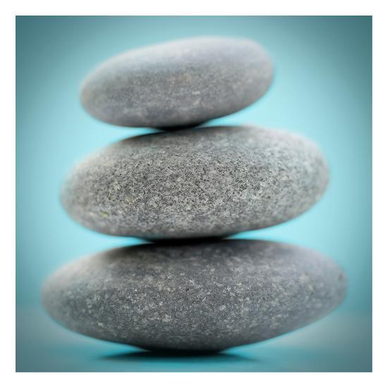 Stacking Stones 1 Teal-Sandro De Carvalho-Art Print