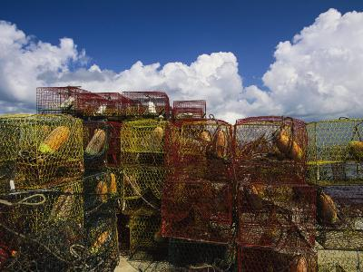 Stacks of Crab Pots with Floats Sitting at the Waterside-Medford Taylor-Photographic Print