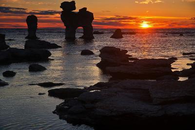 Stacks on the Island Far? Close Gotland, Sweden, Silhouette, Sundown-Thomas Ebelt-Photographic Print