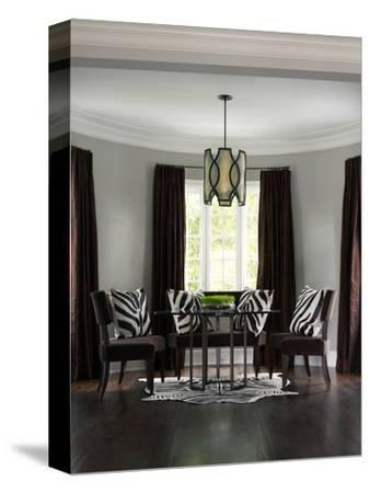 Patterned Cushions on Dining Chairs in Contemporary Transitional Townhouse