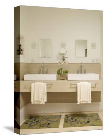 Two Washbasins on Shelf in Modern Bathroom
