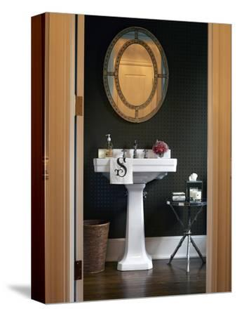 View Through Doorway of Pedestal Basin in Bathroom of Contemporary Transitional Townhouse