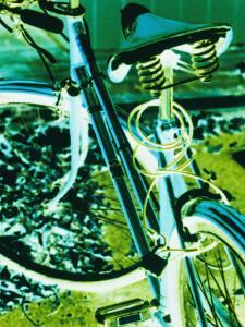 Bright Blue and Green Colors Create an Electrifying View of a Bicycle by Stacy Gold