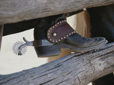 Close View of a Cowboy Boot, Complete with Silver Spur