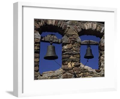 Close View of Two Bells in a Tower Near La Seu D'Urgell, Pyrenees Mountains, Spain, Europe