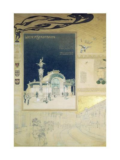 Stadtbahn Pavilion, Vienna Underground Railway, Exterior and a View of the Railway Platform-Otto Wagner-Giclee Print