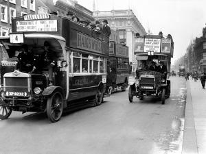Buses Driven by Volunteers Seen Here in Oxford Street During the 10th Day of the General Strike by Staff