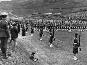 Prince of Wales Inspects Seaforth Highlanders During a Trooping of the Colour, 1929 by Staff