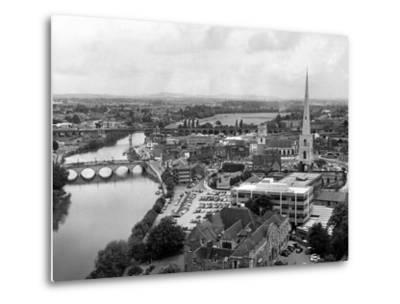 Worcester and the river crossings from the cathedral tower. 1968