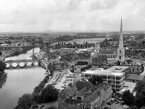 Worcester and the river crossings from the cathedral tower. 1968 by Staff