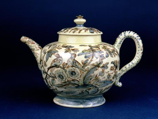 """Staffordshire Creamware Teapot Known as """"The Tunstall Teapot"""" with Three Birds in Foliage, 1743--Giclee Print"""