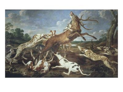 Stag Attacked by Pack of Hounds-Paul De Vos-Giclee Print