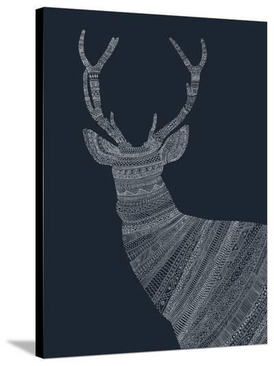 Stag Blue-Florent Bodart-Stretched Canvas Print