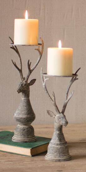 Stag Candle Holder Pair - Pillar--Home Accessories
