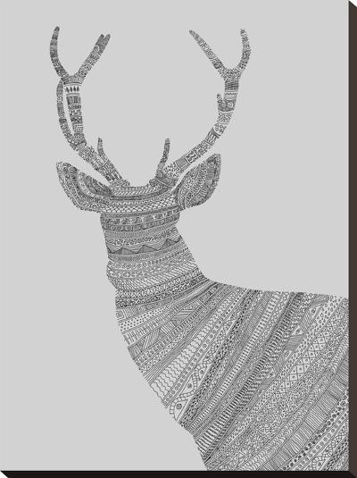 Stag Grey-Florent Bodart-Stretched Canvas Print