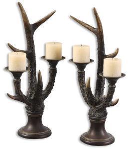 Stag Horn Candleholder, Set/2