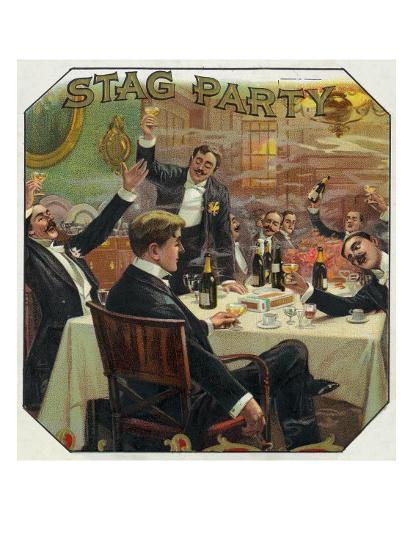 Stag Party Brand Cigar Outer Box Label-Lantern Press-Art Print