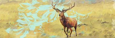 Stag With Magnolia-Sarah Butcher-Art Print