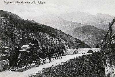 Stage Coach on Splugen Pass, Postcard, Lombardy, Italy, 20th Century--Giclee Print