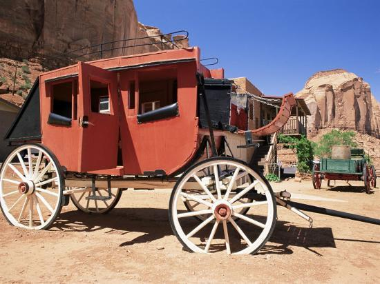 Stage Coach Outside Goulding's Museum, Monument Valley, Arizona/Utah Border, USA-Ruth Tomlinson-Photographic Print