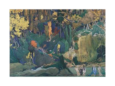 Stage Design for the Ballet the Afternoon of a Faun by C. Debussy, 1912-L?on Bakst-Giclee Print