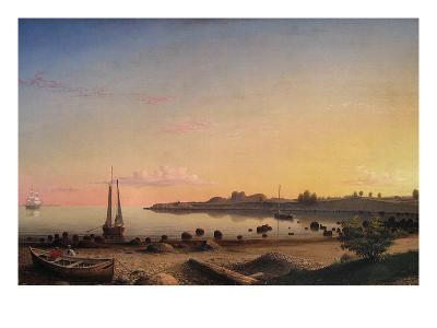 Stage Fort across Gloucester Harbor-Fitz Henry Lane-Art Print