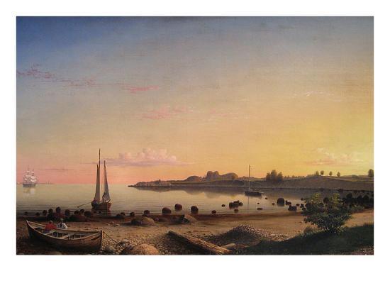 Stage Fort across Gloucester Harbor-Fitz Henry Lane-Art Print