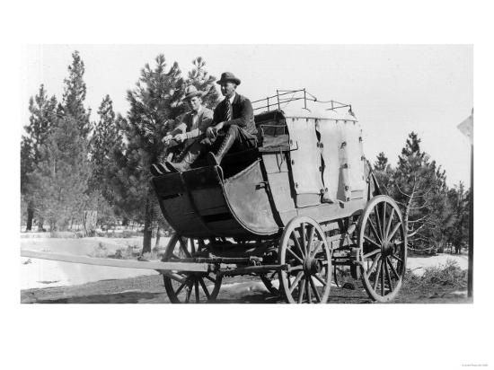 Stagecoach on the Way to Walker Mine - Portola, CA-Lantern Press-Art Print