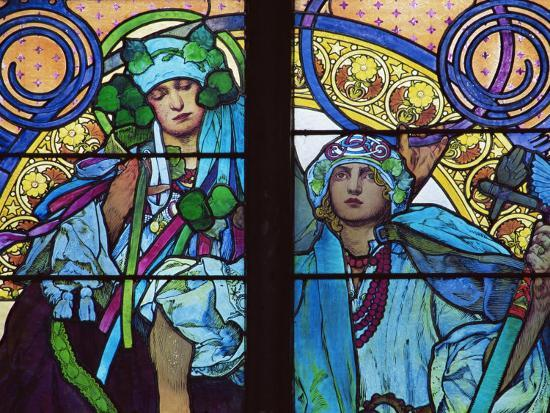 Stained Glass by Mucha, St. Vitus Cathedral, Prague, Czech Republic-Upperhall-Photographic Print