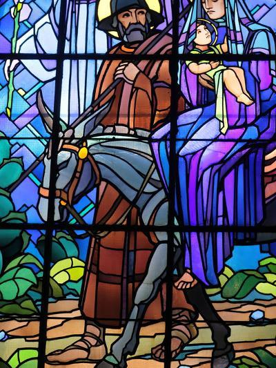 Stained Glass by Raphael Lardeur of the Flight into Egypt, St. Joseph De Chedde Church, Haute-Savoi-Godong-Photographic Print