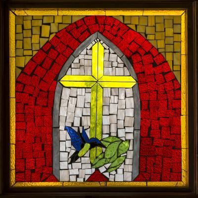 Stained Glass Cross II-Kathy Mahan-Photographic Print