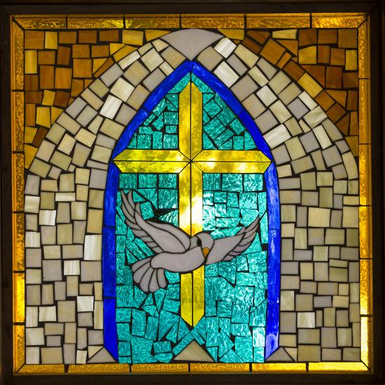 Stained Glass Cross V-Kathy Mahan-Photographic Print