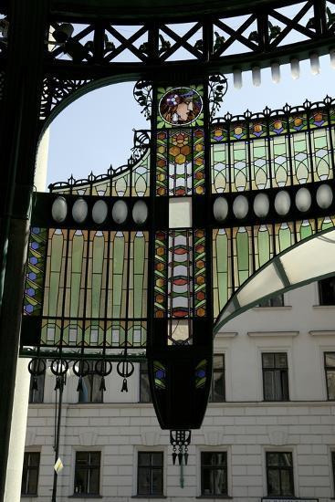 Stained-Glass Decoration of the Municipal House Portal, Prague, Czech Republic--Photographic Print