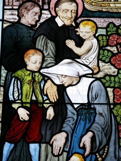 Stained Glass Depicting St. Vincent De Paul, Founder of the Daughters of Charity Congregation-Godong-Photographic Print