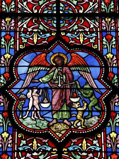 Stained Glass in Notre Dame De Bayeux Cathedral, Bayeux, Normandy, France, Europe--Photographic Print