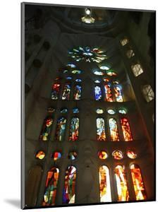 Stained Glass in Sagrada Familia, Barcelona, Catalonia, Spain, Europe