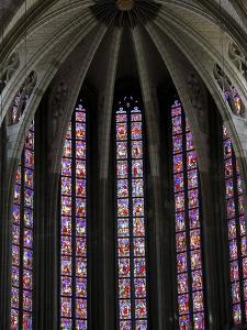 Stained Glass in Sainte-Croix (Holy Cross) Cathedral, Orleans, Loiret, France, Europe