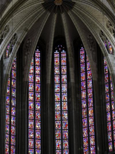 Stained Glass in Sainte-Croix (Holy Cross) Cathedral, Orleans, Loiret, France, Europe--Photographic Print